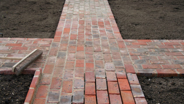 LANDSCAPING wavy brick paths to look old