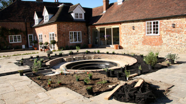 PLANTING gravel garden around sunken pool